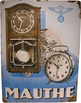 31 Mauthe Clock Company Porcelain Sign