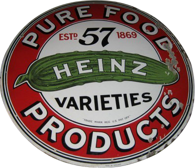 33 Heinz 57 Pure Food Products Round Porcelain Sign