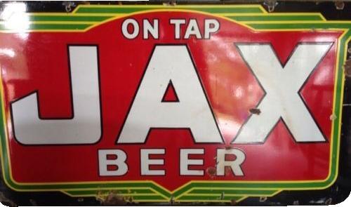 35 Jax Beer On Tap Die Cut Porcelain Sign