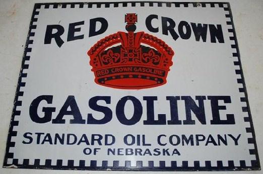43 Red Crown Gasoline Porcelain Sign