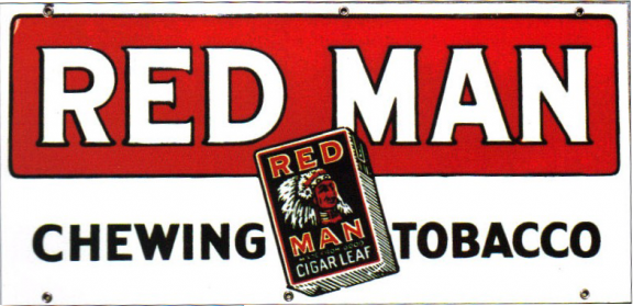 57 Red Man Chewing Tobacco Porcelain Sign 1