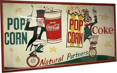 59 Coca Cola Pop Corn Natural Partners Porcelain Sign