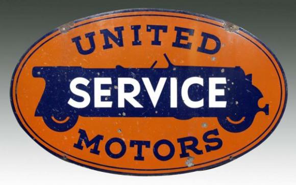62 United Motor Service Porcelain Sign