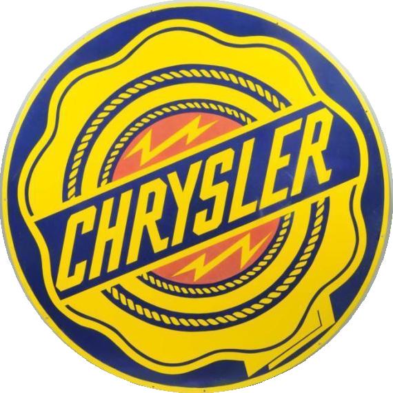 67 Chrysler Logo Round Porcelain Sign