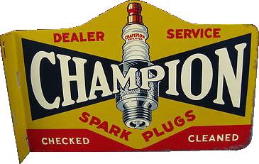 74 Champion Spark Plugs Dealer Service Flange Porcelain Sign