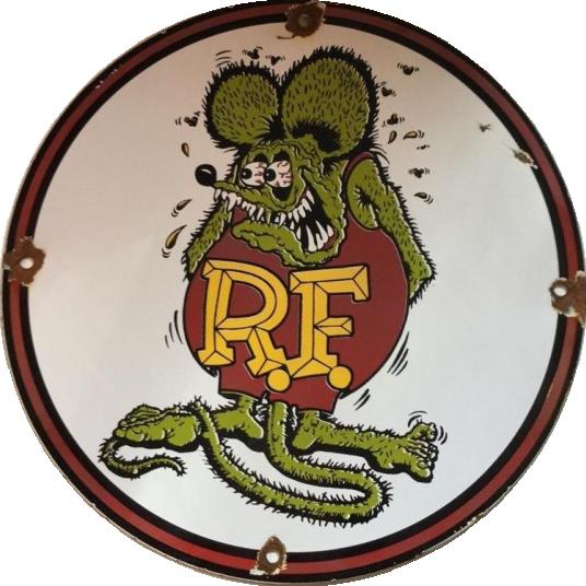 83 Rat Fink RF Round With Rat Porcelain Sign