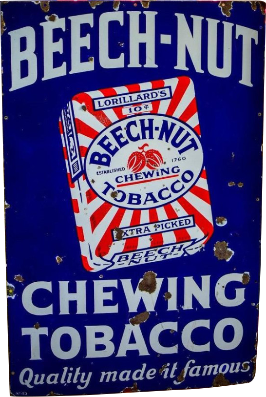 86 Beech Nut Chewing Tobacco Porcelain Sign