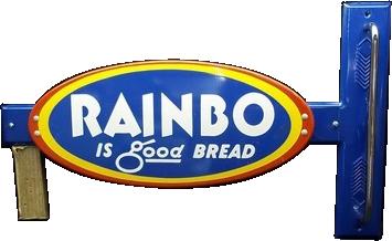 88 Rainbo Is Good Bread Door Push Porcelain Sign