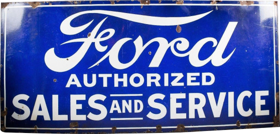 89 Ford Authorized Sales And Service Porcelain Sign